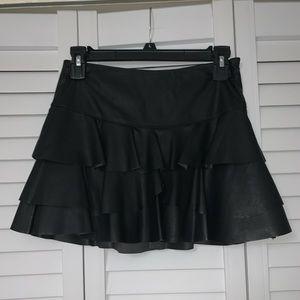 Forever21 Black Leather Skater Skirt